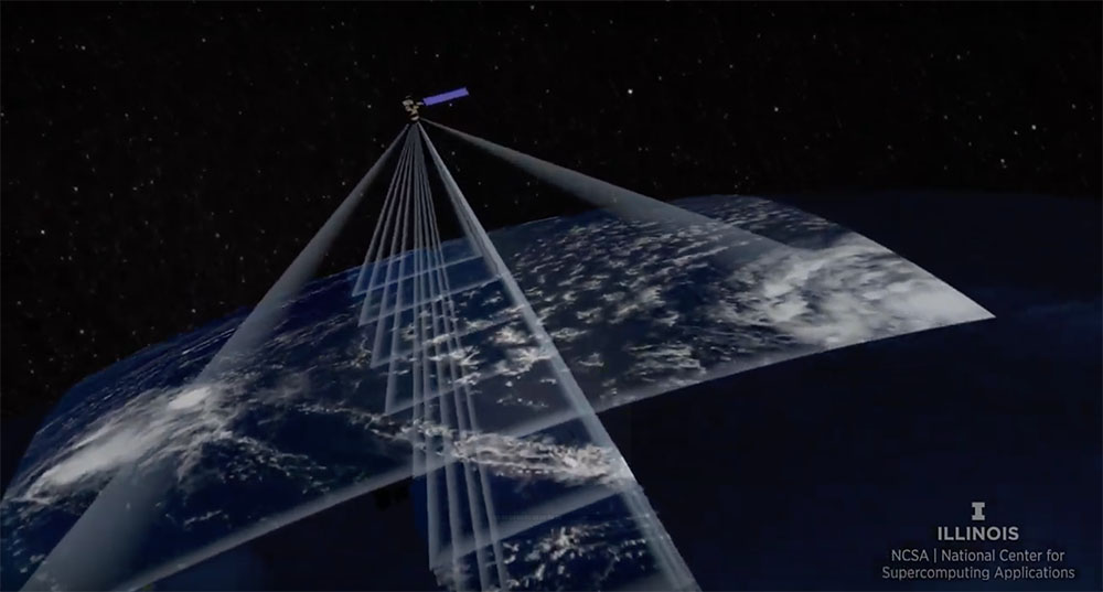 Black and white image showing the Terra satellite with rays/lines indicating areas on Earth sensed by individual instruments.