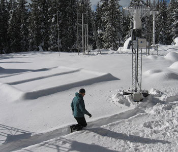 Photograph of a researcher checking instruments at a SNOTEL site