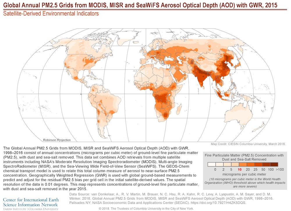 The Global Annual PM2.5 Grids from MODIS, MISR and SeaWiFS Aerosol Optical Depth (AOD) with GWR, 1998–2016 consist of annual concentrations (micrograms per cubic meter) of ground-level fine particulate matter (PM2.5),with dust and sea-salt removed.