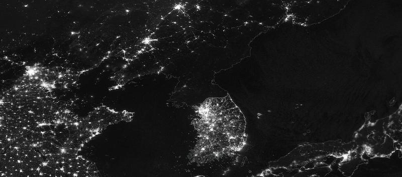 Korean Peninsula at Night on 18 January 2021 (Suomi NPP/VIIRS)