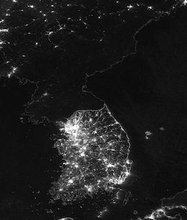 Korean Peninsula at Night on 18 January 2021 (Suomi NPP/VIIRS) - Feature Grid