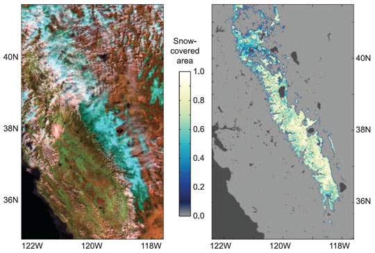 Satellite-derived images showing snow cover over the Sierra Nevada in California