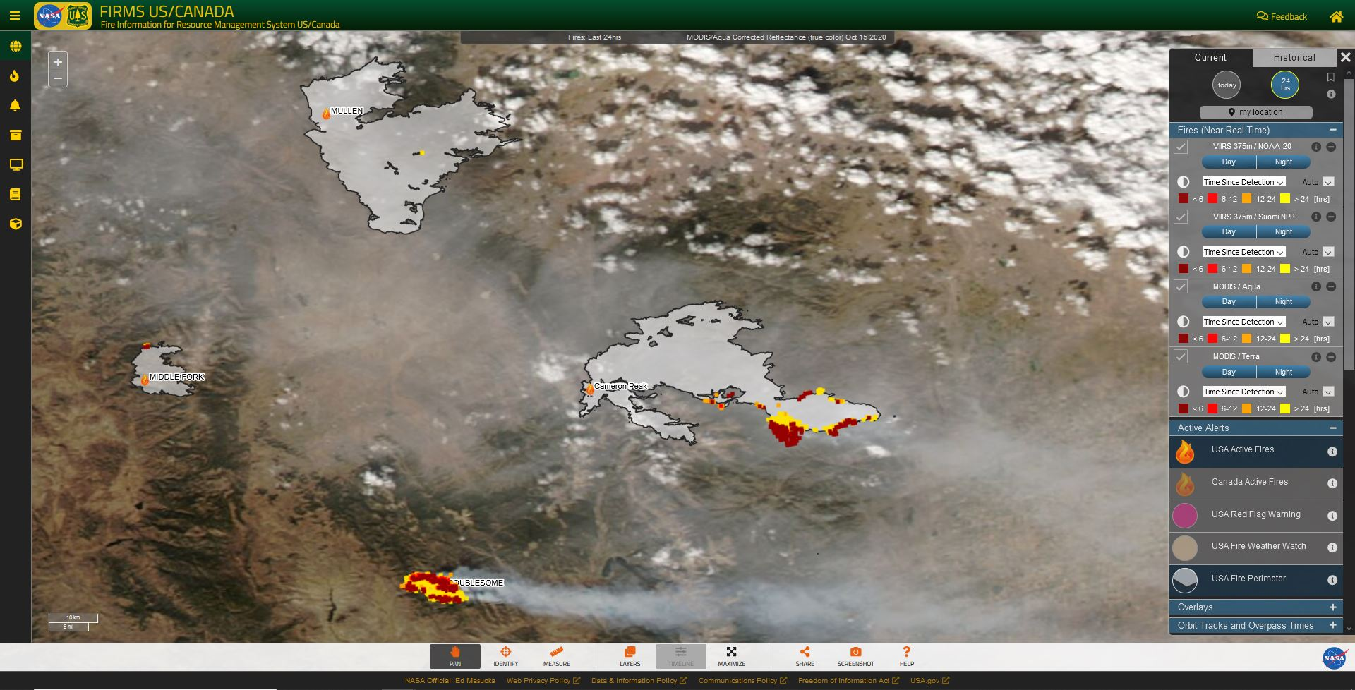 A screen capture from FIRMS US/Canada showing active fire detections and time since detection