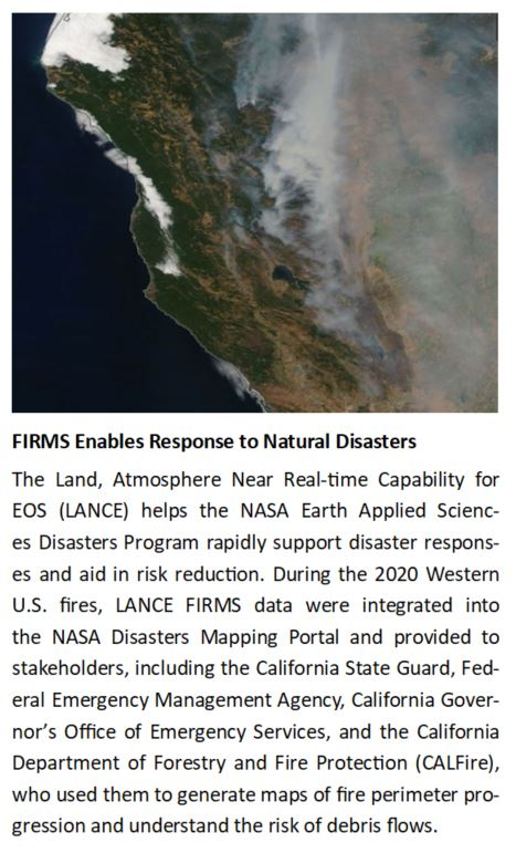 A sidebar for the FIRMS article that discusses how FIRMS data is used in disaster response.