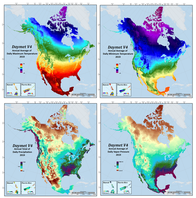 This image features four panels showing Dayment annual climatology data pertaining to temperature and precipitation.