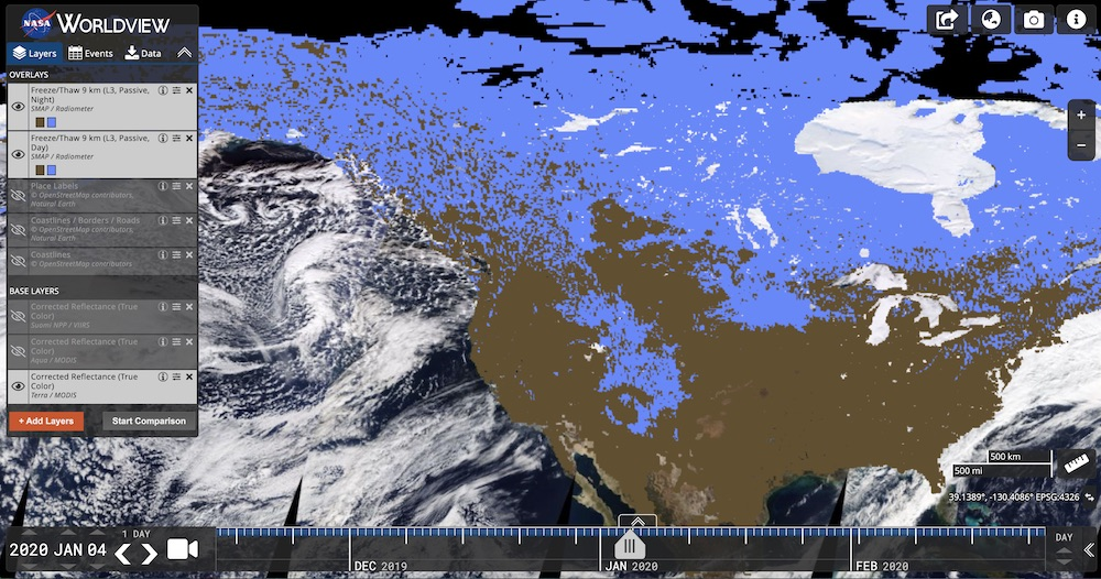 NASA Soil Moisture Active Passive (SMAP) Freeze/Thaw 9 km Layer in Worldview. NASA's EOSDIS Worldview imagery mapping and visualization application provides the capability to interactively browse global, full-resolution satellite imagery layers.
