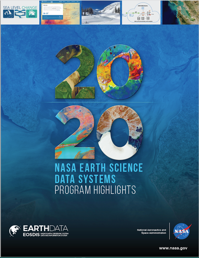 Cover of 2020 Highlight report with various photos from the Earthdata website
