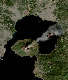 Sakurajima Volcano, Japan on 5 February 2021 (Sentinel 2A& 2B/MSI) - Feature Grid