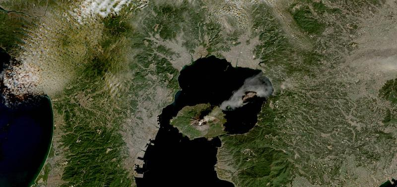 Sakurajima Volcano, Japan on 5 February 2021 (Sentinel 2A& 2B/MSI)
