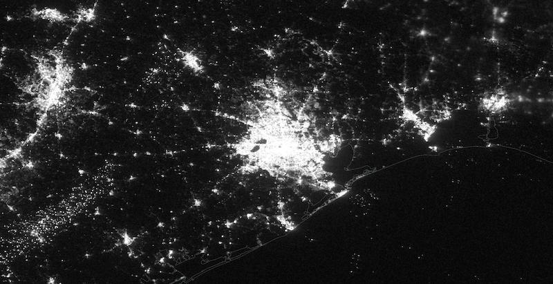 Houston, Texas with Power on 7 February 2021 (Suomi NPP/VIIRS)