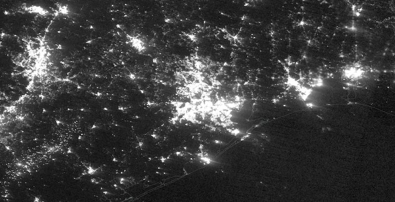 Houston, Texas Power Outage on 16 February 2021 (Suomi NPP/VIIRS)