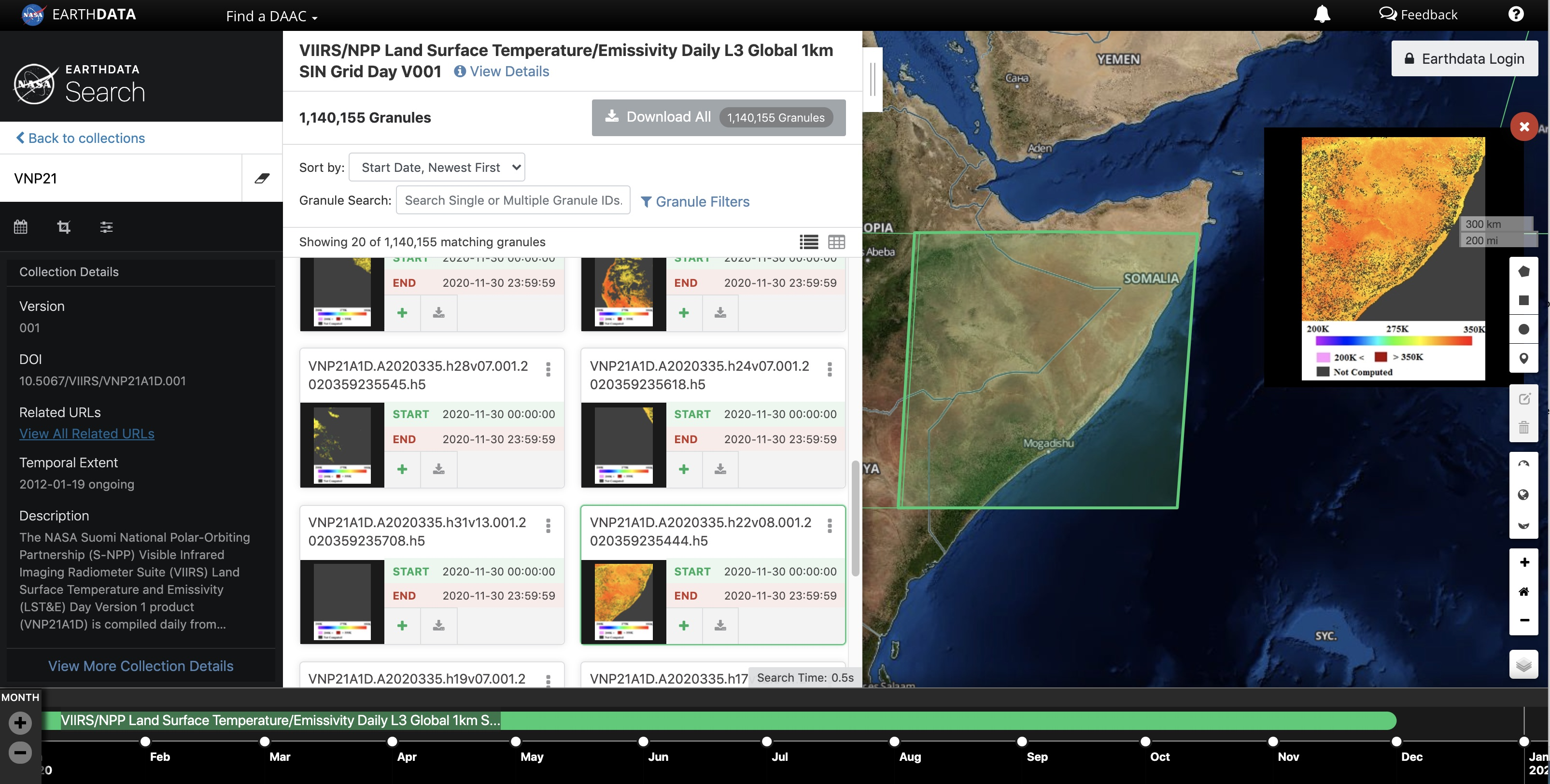 Land Surface Temperature in Earthdata Search