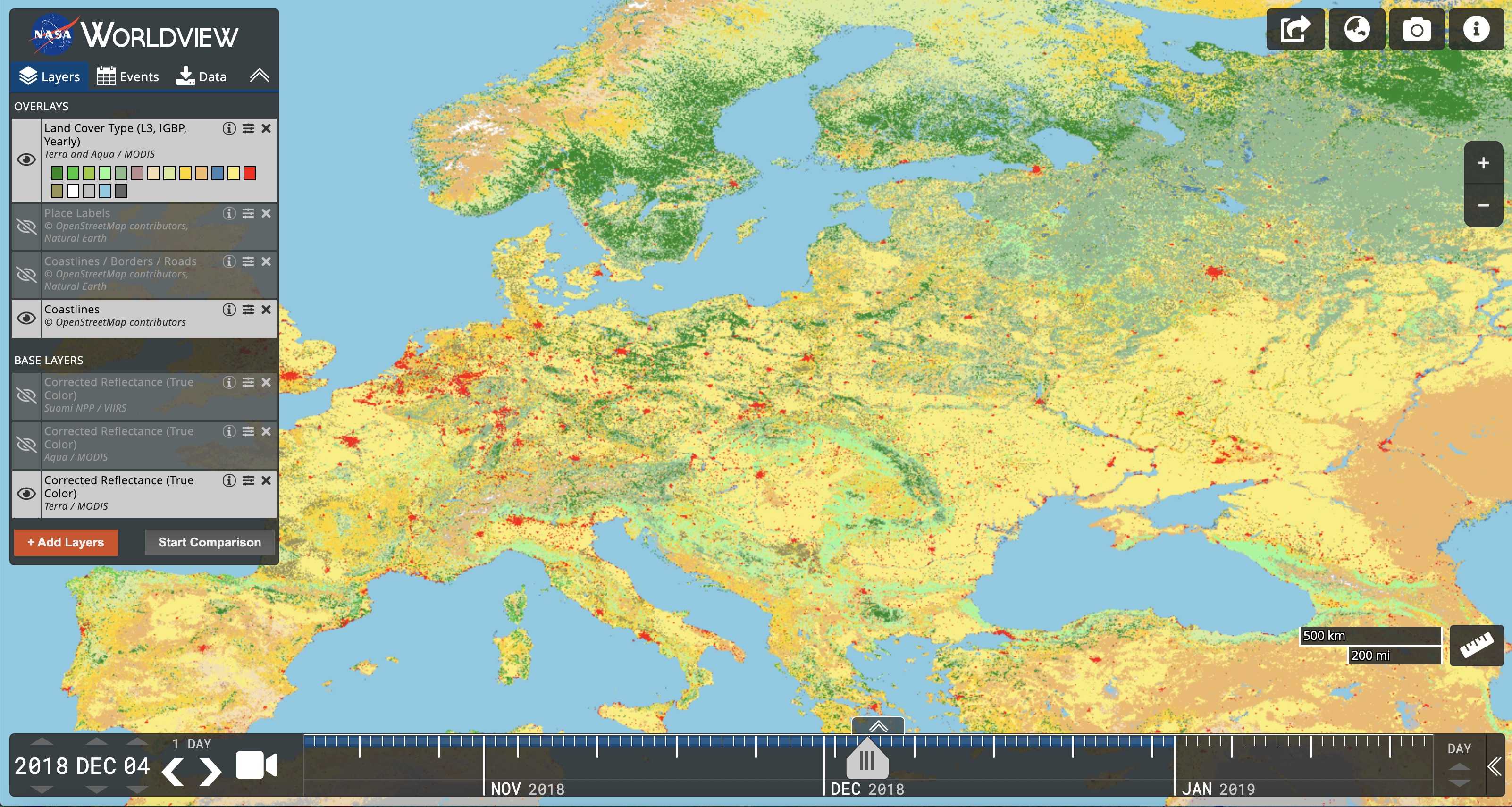 Terra and Aqua Moderate resolution Imaging Spectroradiometer (MODIS) Land Cover Type in Worldview