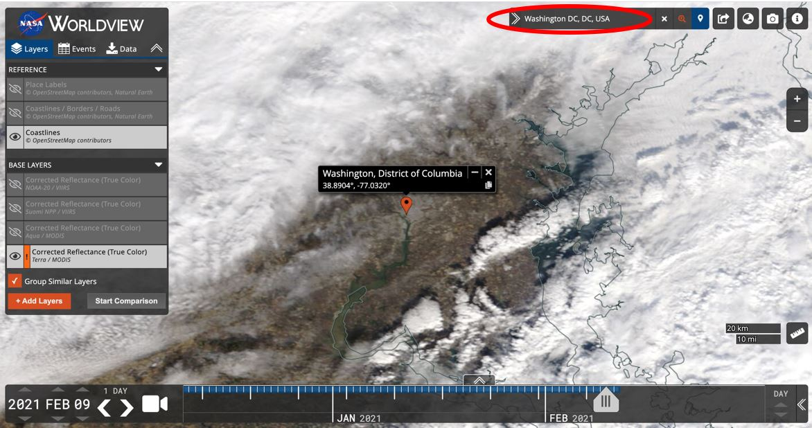This screen capture from Worldview 3.9.0 shows how to search by location