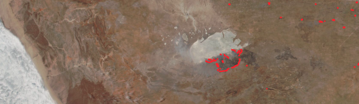 Fires in Etosha National Park, Namibia - detected using imagery from VIIRS, S-NPP on October, 18, 2020