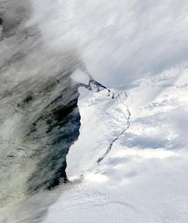 Brunt Ice Shelf Calves on 1 March 2021 (Terra/MODIS) - Feature Grid