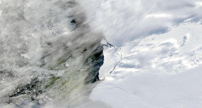 Brunt Ice Shelf Calves on 1 March 2021 (Terra/MODIS)