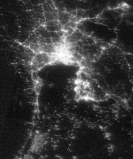 Bangkok, Thailand at Night on 7 March 2021 (Suomi NPP/VIIRS) - Feature Grid