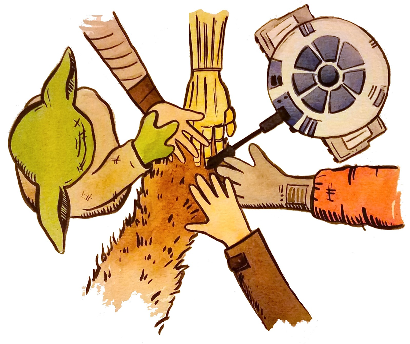Overhead view of cartoon-likeness Star Wars characters putting their hands together as a team.