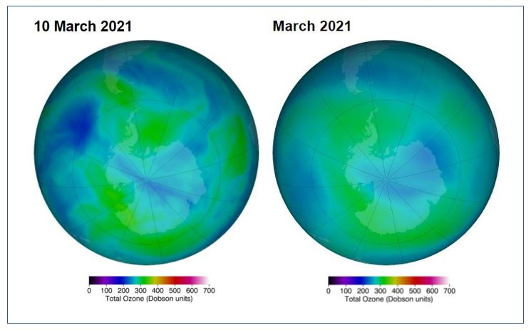 This Graphic from NASA Ozone Watch shows the ozone holes over both poles in March 2021