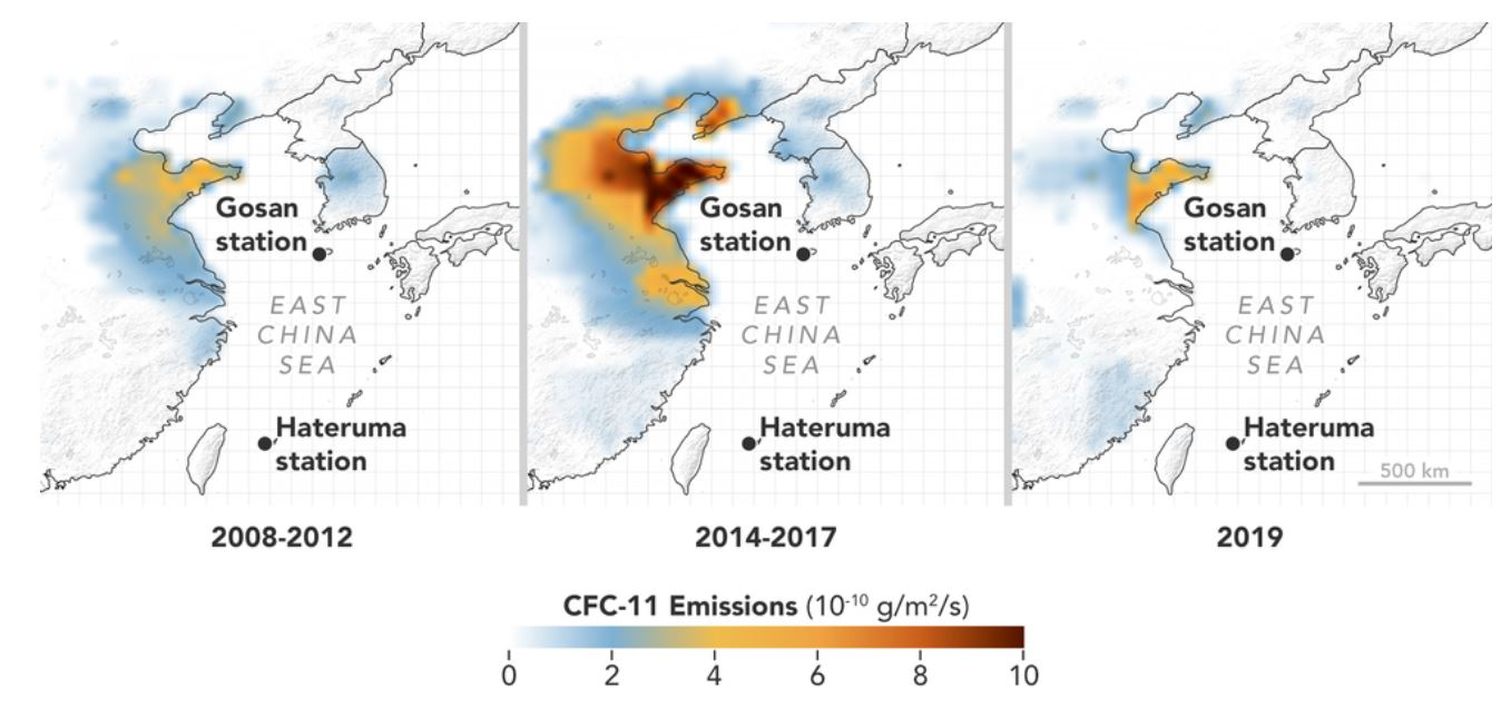 This graphic shows how two stations in the AGAGE network identified eastern China as a significant source of increased CFC-11 emissions.