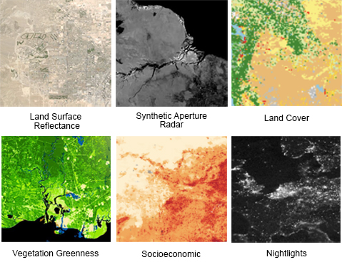 Six thumbnails which when clicked will take the user directly to the dataset. Top three in order are land surface reflectance, synthetic aperture radar, and land cover. Bottom three in order are vegetation greenness, socioeconomic, and nightlights