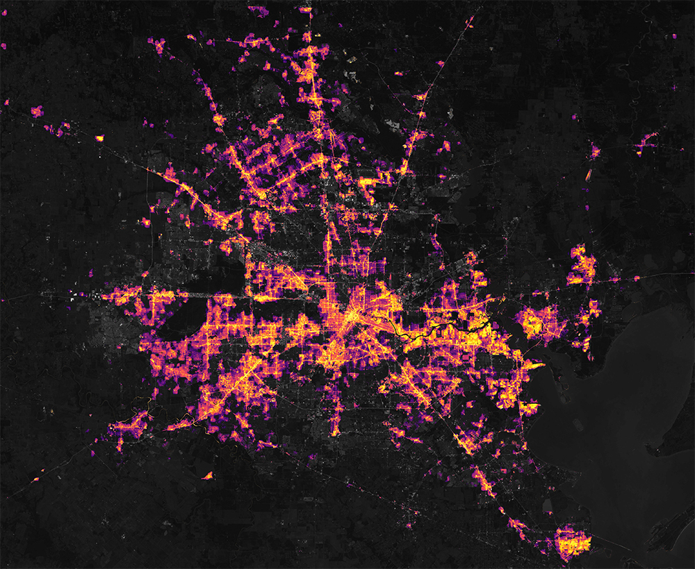 Nighttime lights data over Texas, acquired on February 16, 2021 with the Visible Infrared Imaging Radiometer Suite (VIIRS) on the NOAA–NASA Suomi NPP satellite. Note that the data have been overlain on Landsat imagery so that city structure can still be distinguished. Credit: NASA Earth Observatory