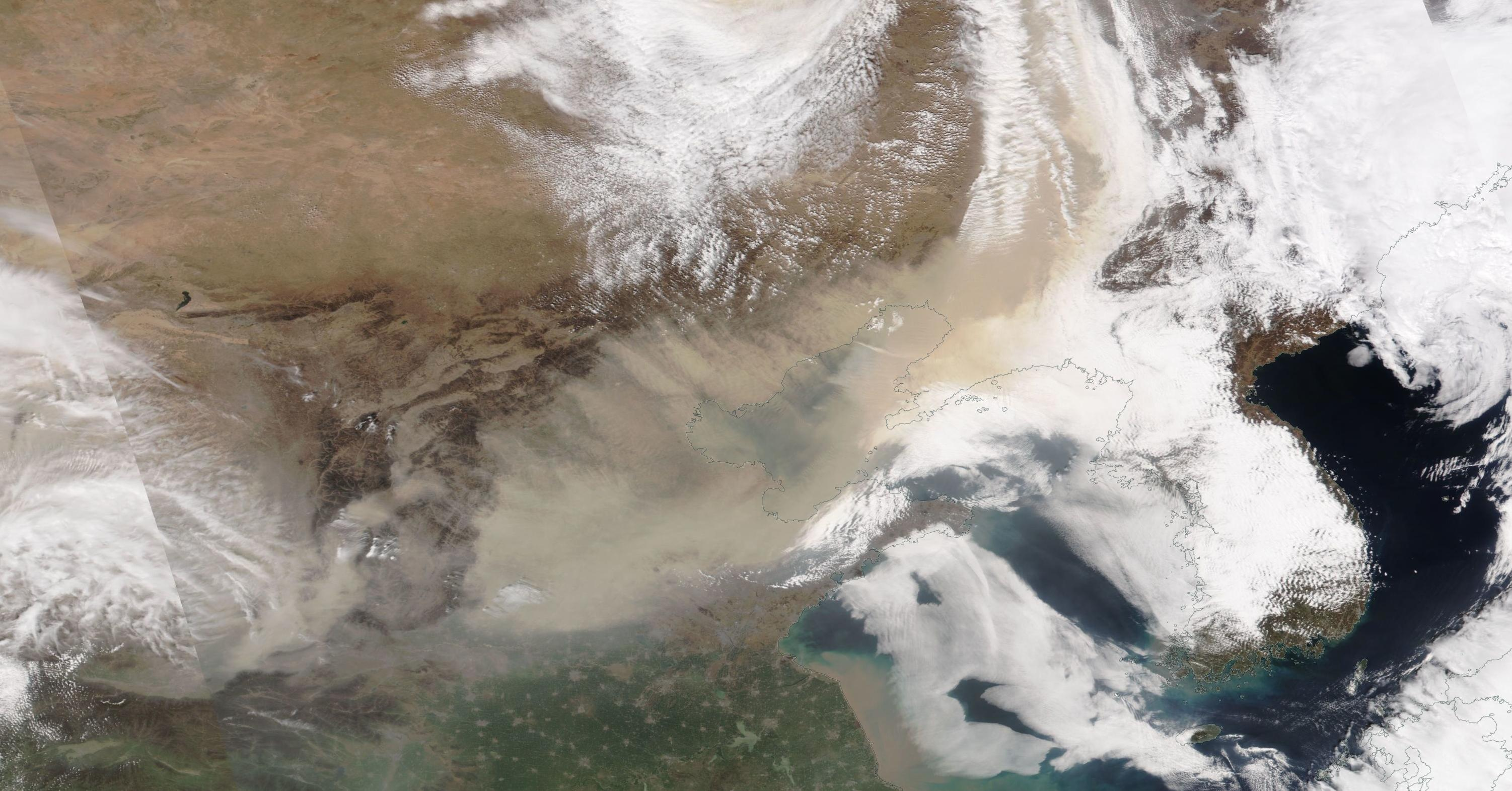 Dust Storm in China on 28 March 20201 (NOAA-20/VIIRS)