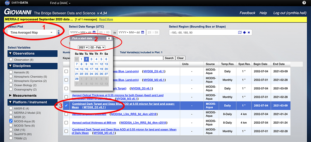 Giovanni interface with three steps highlighted: 1) Select a map plot type. 2) Select a date range. Data are in multiple temporal resolutions, so be sure to note the start and end date to ensure you access the desired dataset. 3) Check the box of the variable in the left column that you'd like to include and then plot the data.