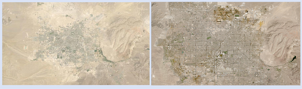 Urban sprawl in Las Vegas, NV, from 8 July 1985 (left image) to 1 July 1999 (right image). Both images are Web-Enabled Landsat Data (WELD). These images can be interactively explored in Worldview. Credit: NASA Worldview image