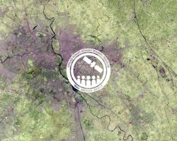 ARSET logo over satellite image for SDG Land Degradation training