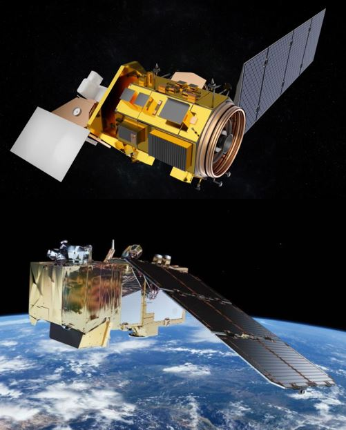 This image shows artist renderings of the Landsat-8 and Sentinel 2 satellites