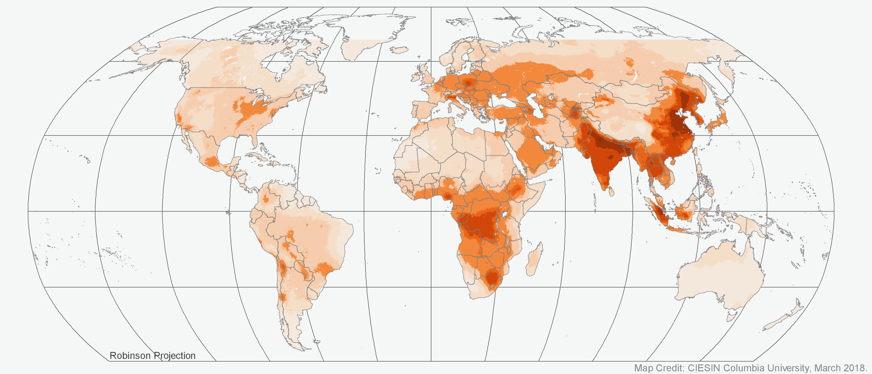 Annual global surface of concentrations (micrograms per cubic meter) of mineral dust and sea-salt filtered fine particulate matter of 2.5 micrometers or smaller (PM2.5) as visualized in Worldview. Credit: NASA