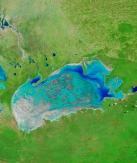 Etosha Pan, Namibia on 5 April 2021 (Terra/MODIS) - Feature Grid