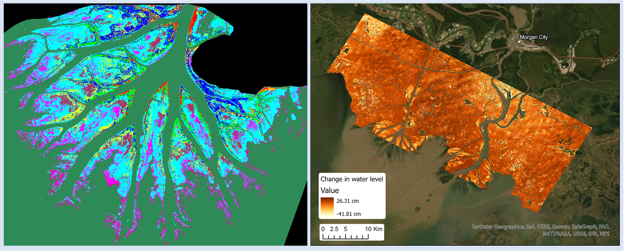 Side-by-side maps. Left: Delta colored in to indicate vegetation types. Right: Changes in water level indicated in shades of yellow, orange, and red, with darker colors indicating greater water change.