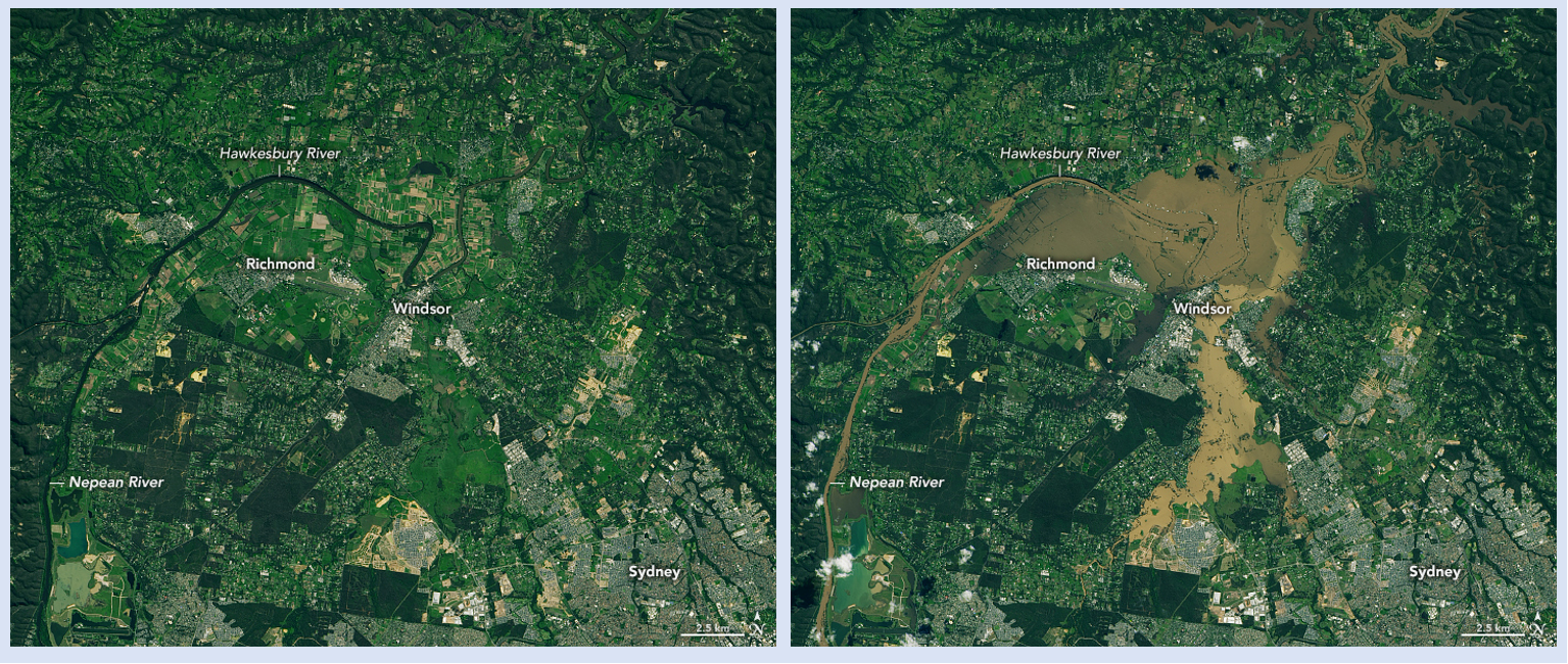 Side-by-side images showing the same area before flooding (left) and after historic flooding (right).