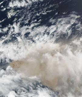La Soufriere Volcano on 10 April 2021 (Suomi NPP/VIIRS) - Feature Grid