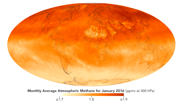 Global map of average methane concentrations for January 2016, measured by the Atmospheric Infrared Sounder (AIRS).