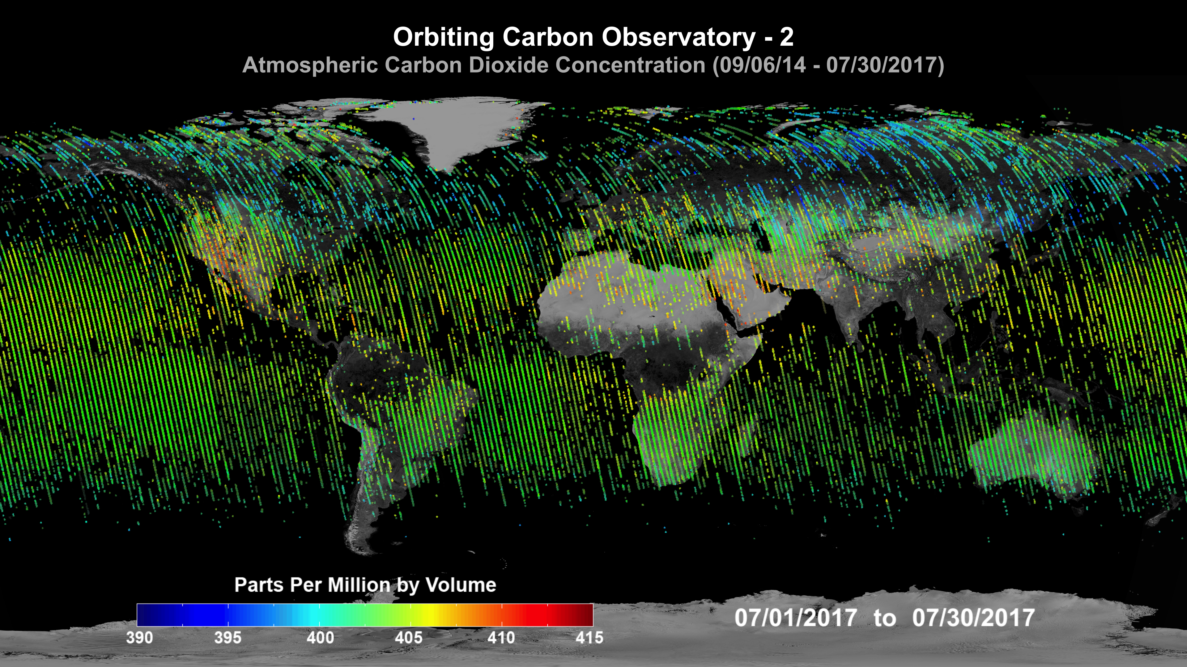 Global map of average carbon dioxide concentrations for July 2017 measured by NASA's Orbiting Carbon Observatory-2 (OCO-2).