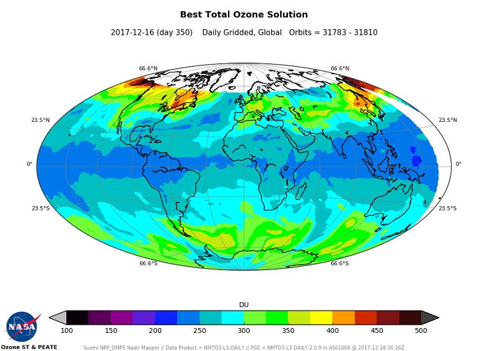 Map of ozone concentrations for December 16, 2017.