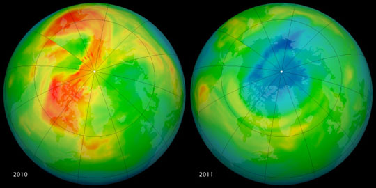 Data image showing total ozone levels over the Arctic in 2010 and 2011