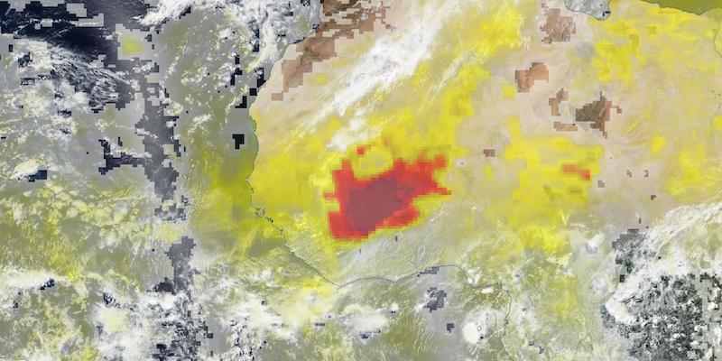 Dust Storm in Burkina Faso on 2 May 2021 (Suomi NPP/OMPS and VIIRS)