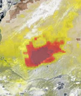 Dust Storm in Burkina Faso on 2 May 2021 (Suomi NPP/OMPS and VIIRS) - Feature Grid