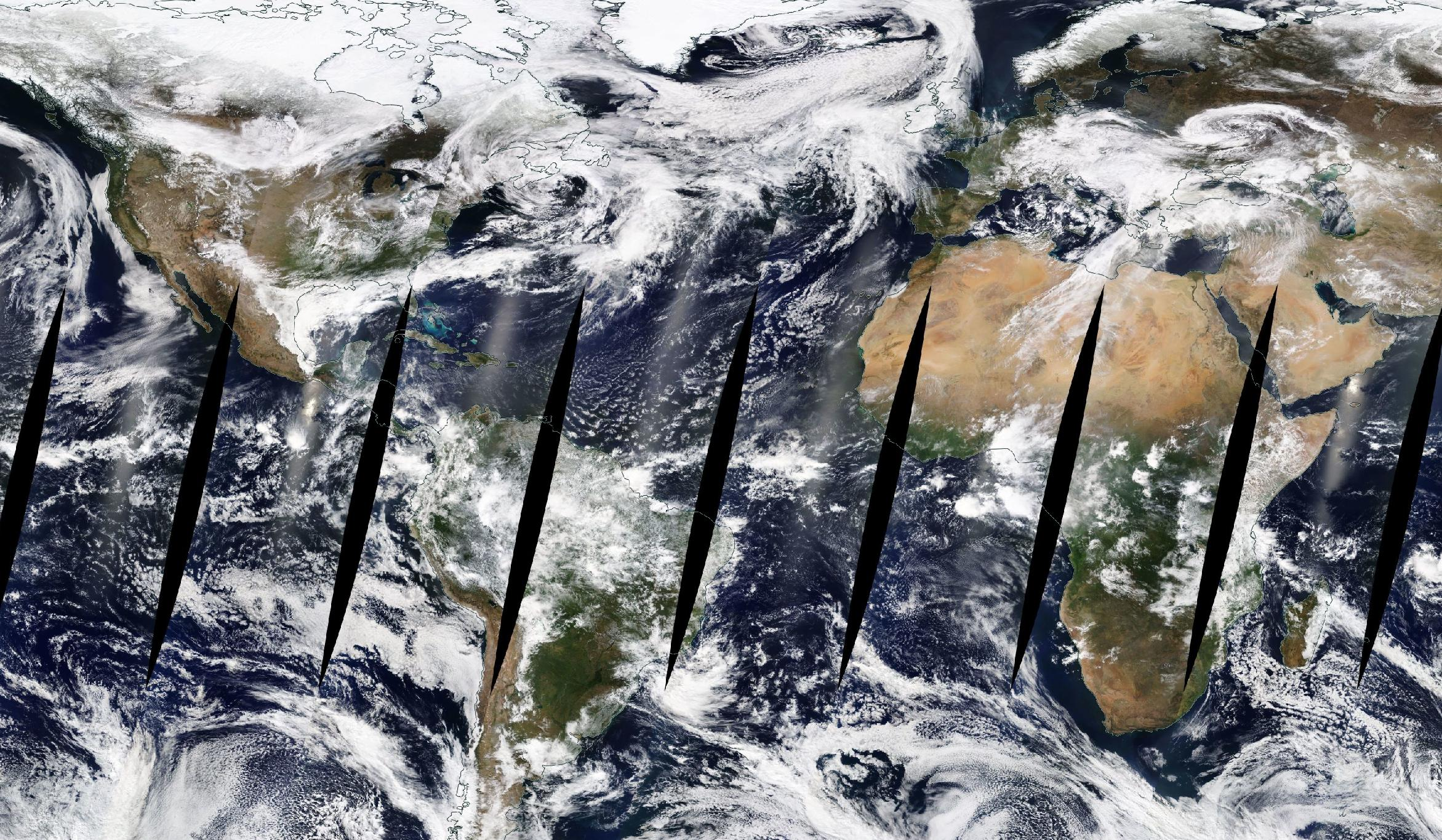 Daily global MODIS image showing N. America and Africa.