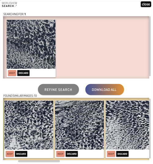 Seed image at top left enables a machine to identify three similar images at bottom.