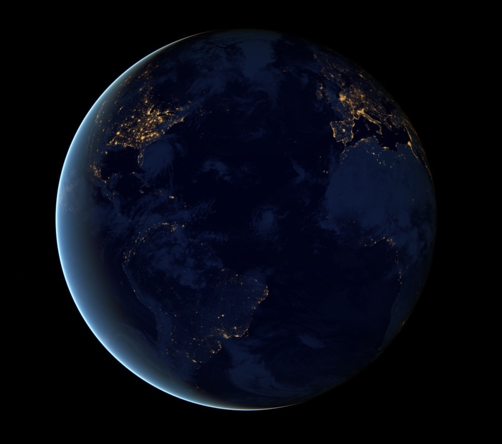 Global view of Earth's city lights from a composite assembled from Day/Night data acquired by the Suomi National Polar-orbiting Partnership (Suomi NPP) satellite. The data were acquired over nine days in April 2012 and thirteen days in October 2012.
