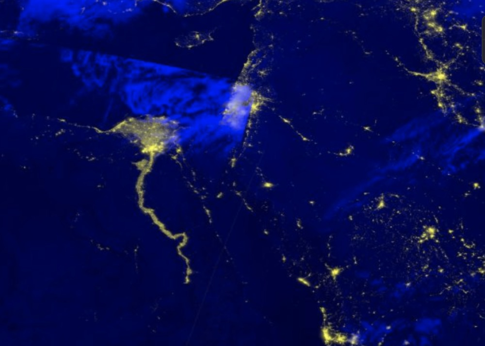 Black Marble Nighttime Blue/Yellow Composite, a false color composite using the VIIRS at-sensor radiance and the brightness temperatures from the M15 band. Image from May 7, 2021 over the Nile River Delta.