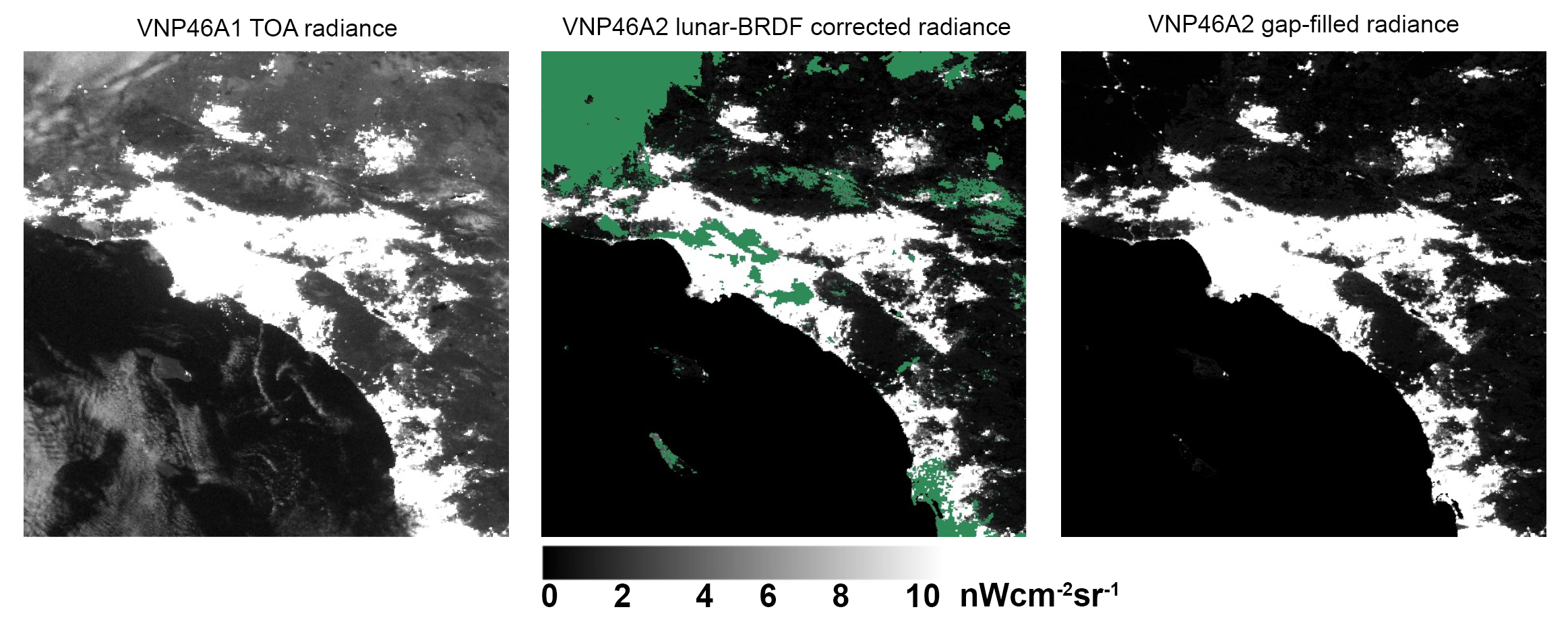 Comparison of NASA's Black Marble data products over Beijing, China. VNP46A1-TOA provides a perspective from the top of the atmosphere; VNP46A2 – Daily has been moonlight adjusted but still is hindered by cloud cover (green color); and VNP46A2 – GapFilled fills in gaps due to cloud cover.