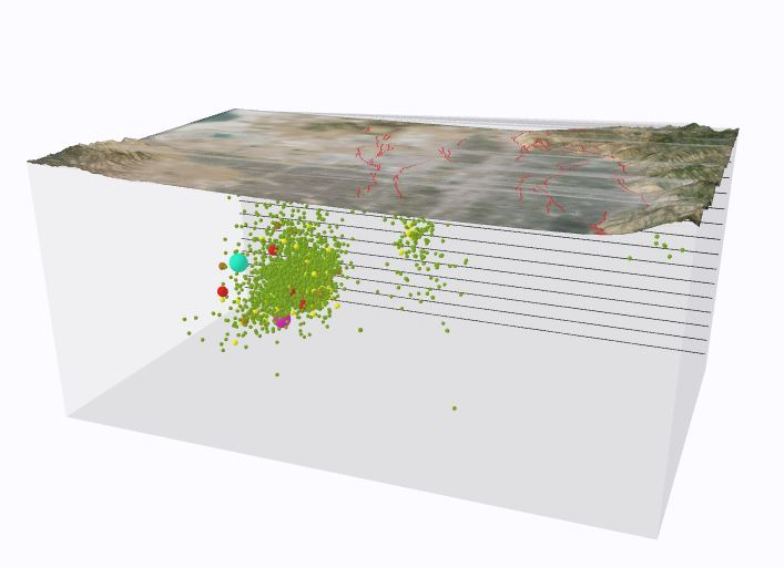 , the UGS created an interactive three-dimensional (3D) visualization of the Magna earthquake using a geographic information system (GIS) data set that represented the main shock and subsequent aftershocks.