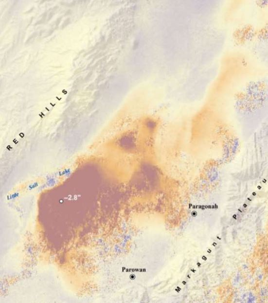 This InSAR image of data from Sentinel 1A shows levels of ground subsidence in southwestern Utah between April 22, 2015 and August 2016. Credit: Alaska Satellite Facility. Image courtesy of Utah Geological Survey